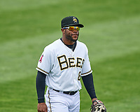 Eric Young Jr. (8) of the Salt Lake Bees on defense against the El Paso Chihuahuas in Pacific Coast League action at Smith's Ballpark on April 30, 2017 in Salt Lake City, Utah. El Paso defeated Salt Lake 3-0. This was Game 1 of a double-header.  (Stephen Smith/Four Seam Images)