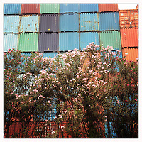 Colourful shipping containers in the port area of Jakarta.