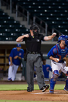 Home plate umpire Ray Patchen calls a batter out on strikes during a game between the AZL Cubs and AZL Giants on September 6, 2017 at Sloan Park in Mesa, Arizona. AZL Giants defeated the AZL Cubs 6-5 to even up the Arizona League Championship Series at one game a piece. (Zachary Lucy/Four Seam Images)
