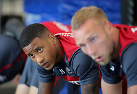 (L-R) Luciano Narsingh and Mike van der Hoorn exercise in the gym during the Swansea City Training at The Fairwood Training Ground, Swansea, Wales, UK. Wednesday 16 August 2017