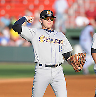 Infielder Dante Bichette, Jr. (19) of the Charleston RiverDogs, a New York Yankees affiliate, prior to a game against the Greenville Drive on June 2, 2012, at Fluor Field at the West End in Greenville, South Carolina. Greenville won, 10-4. Bichette is the Yankees' No. 6 prospect, according to Baseball America and was a first-round draft pick in 2011. (Tom Priddy/Four Seam Images)