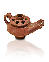 Bronze Age Anatolian terra cotta three spouted teapot - 19th to 17th century BC - Kültepe Kanesh - Museum of Anatolian Civilisations, Ankara, Turkey.. Against a white background.