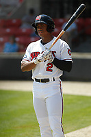 Carolina Mudcats outfielder Corey Ray (2) in the on deck circle during during a game against the Down East Wood Ducks on April 27, 2017 at Five County Stadium in Zebulon, North Carolina. Carolina defeated Down East 9-7. (Robert Gurganus/Four Seam Images)