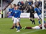 Arbroath v St Johnstone…15.08.21  Gayfield Park      Premier Sports Cup<br />Glenn Middleton celebrates his goal<br />Picture by Graeme Hart.<br />Copyright Perthshire Picture Agency<br />Tel: 01738 623350  Mobile: 07990 594431