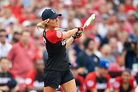 Fox Sports Charissa Thompson bats during the All-Star Legends and Celebrity Softball Game on July 12, 2015 at Great American Ball Park in Cincinnati, Ohio.  (Mike Janes/Four Seam Images)