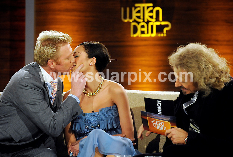 **ALL ROUND PICTURES FROM SOLARPIX.COM**.**SYNDICATION RIGHTS FOR UK AND SPAIN ONLY**.Boris Becker and girlfirend model Lilly Kerssenberg appearing on the German TV show Wetten, dass... in Dusseldorf, Germany. The ex-tennis star has announced that they will be mariied on June 12 2009. 28 February 2009..This pic: Boris Becker and Lilly Kerssenberg..JOB REF: 8571 CPR (Bilan)  DATE: 28_02_2009.**MUST CREDIT SOLARPIX.COM OR DOUBLE FEE WILL BE CHARGED**.**ONLINE USAGE FEE  GBP 50.00 PER PICTURE - NOTIFICATION OF USAGE TO PHOTO @ SOLARPIX.COM**