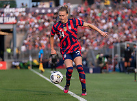 EAST HARTFORD, CT - JULY 5: Emily Sonnett #14 of the USWNT controls the ball during a game between Mexico and USWNT at Rentschler Field on July 5, 2021 in East Hartford, Connecticut.