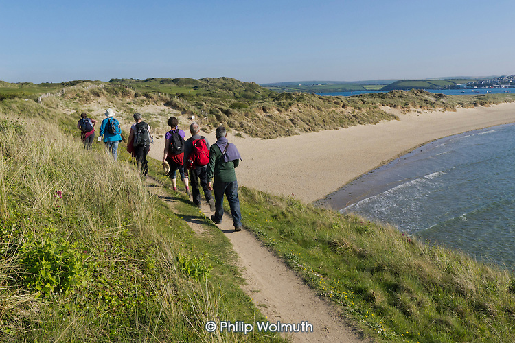Walkers on the South West Coast Path, Cornwall, Britain?s longest marked footpath.