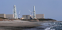 The Chubu Electric Co owned Hamaoka nuclear power station in Shizuoka Prefecture, 140 miles south of Tokyo is protected by a low sand dune from Tsunami..25 Mar 2011...