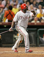 Philadelphia Phillies 1B Ryan Howard hits a HR on Thursday May 22nd at Minute Maid Park in Houston, Texas. Photo by Andrew Woolley / Four Seam Images..