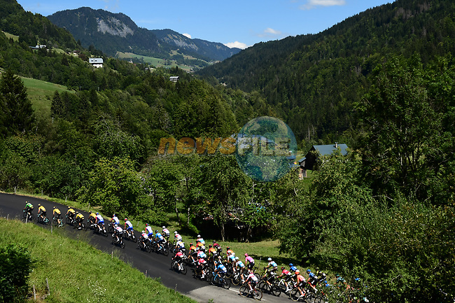 The peloton led by Wout Van Aert (BEL) and Team Jumbo-Visma climb Cote d'hely-sur-Ugine during Stage 4 of Criterium du Dauphine 2020, running 157km from Ugine to Megeve, France. 15th August 2020.<br /> Picture: ASO/Alex Broadway | Cyclefile<br /> All photos usage must carry mandatory copyright credit (© Cyclefile | ASO/Alex Broadway)