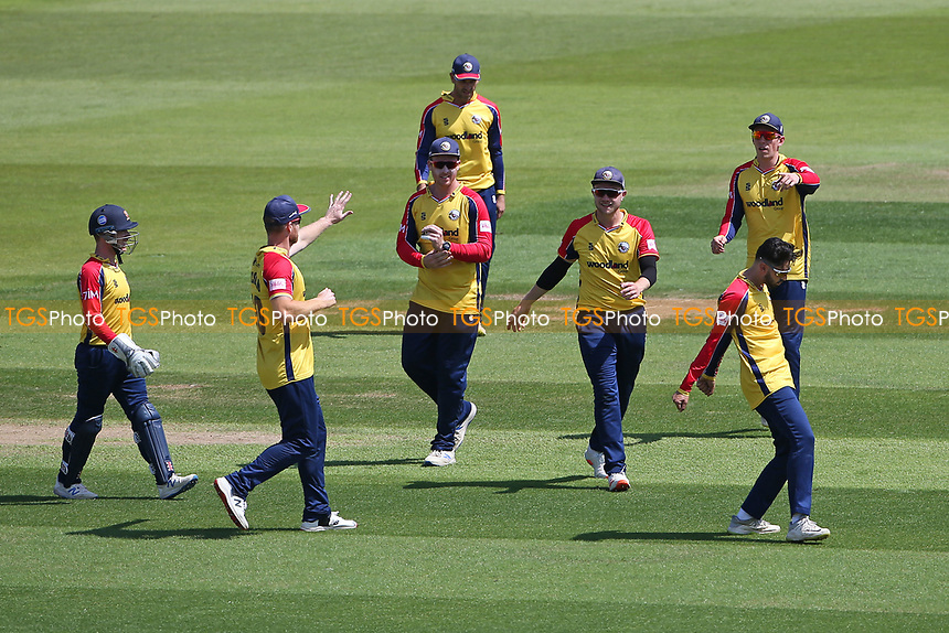 Aron Nijjar of Essex celebrates with his team mates after taking the wicket of Liam Dawson during Hampshire Hawks vs Essex Eagles, Vitality Blast T20 Cricket at The Ageas Bowl on 16th July 2021