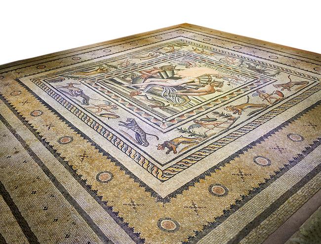 Roman mosaics - Birth of Aphrodite (Venus) Mosaic.  Poseidon Villa Ancient Zeugama, 2nd - 3rd century AD . Zeugma Mosaic Museum, Gaziantep, Turkey.  Against a white background.