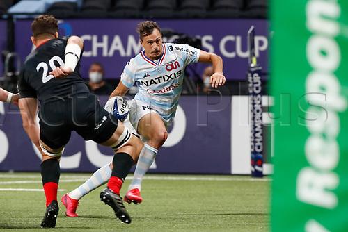 26th September 2020, Paris La Défense Arena, Paris, France; Champions Cup rugby semi-final, Racing 92 versus Saracens; Imhoff (Racing 92) goes past Calum Clarck of Saracens