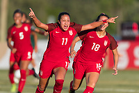Bradenton, FL - Sunday, June 12, 2018: Maya Doms, goal celebration., Sunshine Fontes during a U-17 Women's Championship Finals match between USA and Mexico at IMG Academy.  USA defeated Mexico 3-2 to win the championship.