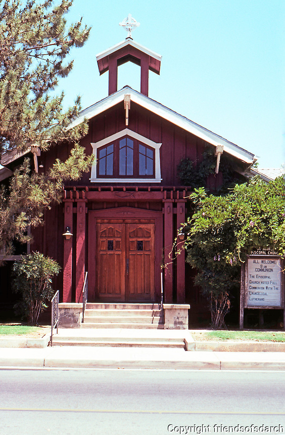 "St. James Episcopal Church, Porterville CA, 1913; 1920. J.L. Roberts. ""Pure Craftsman style--board & batten"".  Photo 2000."
