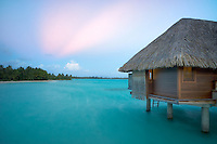 Bungalows over water. Bora Bora. French Polynesia