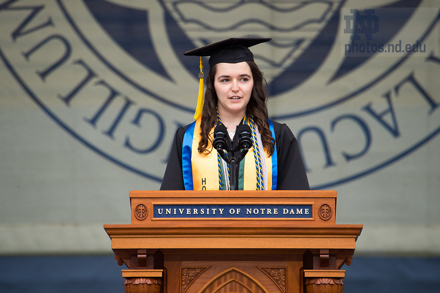 May 20, 2018; 2018 Salutatorian Harisa Spahić, delivers the invocation at the 2018 Commencement ceremony. (Photo by Barbara Johnston/University of Notre Dame)