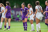 SANFORD, FL - APRIL 3: Ali Krieger of the Orlando Pride waits for the ball during a game between Florida State Seminoles and Orlando Pride at Sylvan Park Training Center on April 3, 2021 in Sanford, Florida.