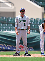 Jupiter Warriors coach Andy Mook (12) during the 42nd Annual FACA All-Star Baseball Classic on June 6, 2021 at Joker Marchant Stadium in Lakeland, Florida.  (Mike Janes/Four Seam Images)