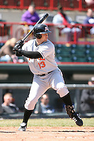 April 15th 2008:  Infielder Jeff Nettles (13) of the Bowie Baysox, Class-AA affiliate of the Baltimore Orioles, during a game at Jerry Uht Park in Erie, PA.  Photo by:  Mike Janes/Four Seam Images