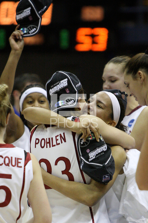 BERKELEY, CA - MARCH 30: Ros Gold-Onwude celebrates with Jeanette Pohlen after Stanford's 74-53 win against the Iowa State Cyclones on March 30, 2009 at Haas Pavilion in Berkeley, California.