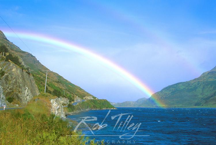 Rainbow over Lake Hawea, South Island, New Zealand