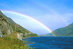 Rainbow over Lake Hawea, South Island, New Zealand