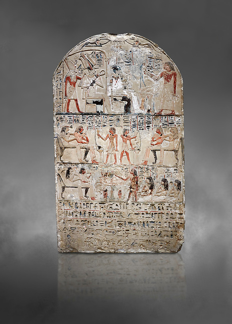"""Ancient Egyptian stele of s standard bearer Maienhekau, limestone, New Kingdom, 18th Dynasty, (1458-1425 BC), DAbydos,  Egyptian Museum, Turin. Grey background.<br /> <br /> In the top registerMaienhekau makes offerings to Ptah, Osiris and Horus. In the middle he is shown with his wife reveiving offerings from his 2 sons. In the lower register another son with 3 gaughters is offering a formula to Maienhekau, also listing his titles. He was standard bearer (captain) on several warships and the """"bearer of arms """" of Thutmosis II. The current depictions are over an earlier relief which can be seen in places where the later stucco has come away."""