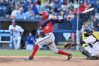 Hagerstown Suns center fielder Victor Robles (16) swings at a pitch during a game against the Asheville Tourists at McCormick Field on June 8, 2016 in Asheville, North Carolina. The Tourists defeated the Suns 10-8. (Tony Farlow/Four Seam Images)