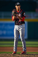Peoria Chiefs pitcher Jack Flaherty (28) gets ready to deliver a pitch during a game against the Lansing Lugnuts on June 6, 2015 at Cooley Law School Stadium in Lansing, Michigan.  Lansing defeated Peoria 6-2.  (Mike Janes/Four Seam Images)