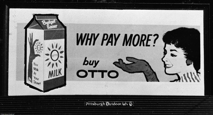 Client: Otto Milk Dairy<br /> Ad Agency: Ketchum, MacLeod & Grove<br /> Contact: Mr. Ballintine<br /> Product: Otto Milk Billboard<br /> Location: East Liberty<br /> <br /> View of a layout of an Otto Milk Billboard advertisement.  Location photography of outdoor billboard for Ketchum Advertising