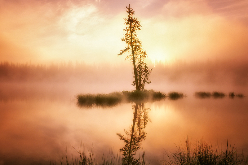 Sunrise and fog on Scott Lake, Oregon
