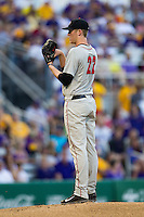Georgia Bulldogs pitcher Robert Tyler #22 looks to his catcher for the sign during the Southeastern Conference baseball game against the LSU Tigers on March 22, 2014 at Alex Box Stadium in Baton Rouge, La. The Tigers defeated the Bulldogs 2-1. (Andrew Woolley/Four Seam Images)