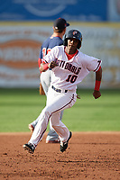 Potomac Nationals shortstop Edwin Lora (10) running the bases during the first game of a doubleheader against the Salem Red Sox on May 13, 2017 at G. Richard Pfitzner Stadium in Woodbridge, Virginia.  Potomac defeated Salem 6-0.  (Mike Janes/Four Seam Images)