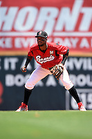Nashville Sounds shortstop Hector Gomez (14) during a game against the Omaha Storm Chasers on May 20, 2014 at Herschel Greer Stadium in Nashville, Tennessee.  Omaha defeated Nashville 4-1.  (Mike Janes/Four Seam Images)