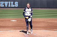 DURHAM, NC - FEBRUARY 29: Payton Tidd #14 stands in the circle during a game between Notre Dame and Duke at Duke Softball Stadium on February 29, 2020 in Durham, North Carolina.