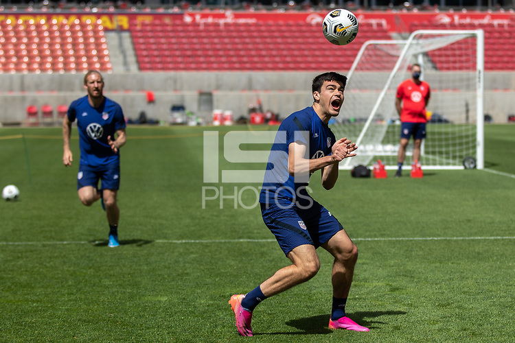 SANDY, UT - JUNE 8: Gio Reyna of the United States during a training session at Rio Tinto Stadium on June 8, 2021 in Sandy, Utah.