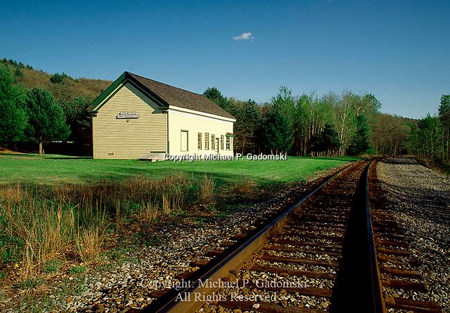 The restored Cochecton and Lake Huntington train station in Sullivan County, New York