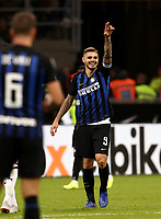 Calcio, Serie A: Inter Milano - AC Milan , Giuseppe Meazza stadium, .October 21, 2018.<br /> Inter's captain Mauro Icardi celebrates after scoring during the Italian Serie A football match between Inter and Milan at Giuseppe Meazza (San Siro) stadium, October 21, 2018.<br /> UPDATE IMAGES PRESS/Isabella Bonotto