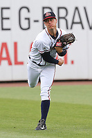 Gwinnett Braves starting pitcher Matt Wisler (45) warms up prior to a game against the Leigh Valley IronPigs at Coolray Field on May 25, 2015 in Lawrenceville, Georgia. (David Welker/Four Seam Images)