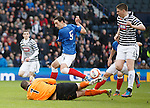 Lee Wallace has a chance but the Queens keeper Neil Parry is too quick for him