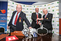 SCHOOLS CUP DRAW 2016 | Monday 16th November 2015<br /> <br /> Ulster Branch President Bobby Stewart makes a draw from the famous trophy during the Ulster Schools Cup draw at Kingspan Stadium, Ravenhill Park, Belfast, Northern Ireland.<br /> <br /> Photo credit: John Dickson / DICKSONDIGITAL