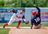22 July 2018: Syracuse SkyChiefs infielder Bengie Gonzalez gets Louisville Bats catcher Chadwick Tromp out at second on an attempted stolen base in the 7th inning at NBT Bank Stadium in Syracuse, NY. The Bats defeated the Chiefs 3-1 in AAA International League play. Mandatory Credit: Ed Wolfstein Photo *** RAW (NEF) Image File Available ***