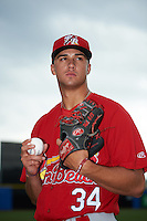 Palm Beach Cardinals pitcher Jack Flaherty (34) poses for a photo before a game against the Dunedin Blue Jays on April 15, 2016 at Florida Auto Exchange Stadium in Dunedin, Florida.  Dunedin defeated Palm Beach 8-7.  (Mike Janes/Four Seam Images)