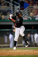Batavia Muckdogs Nasim Nunez (23) at bat during a NY-Penn League Semifinal Playoff game against the Lowell Spinners on September 4, 2019 at Dwyer Stadium in Batavia, New York.  Batavia defeated Lowell 4-1.  (Mike Janes/Four Seam Images)