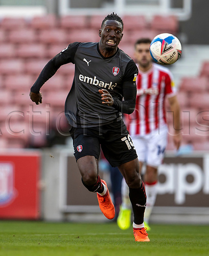 31st October 2020; Bet365 Stadium, Stoke, Staffordshire, England; English Football League Championship Football, Stoke City versus Rotherham United; Freddie Ladapo of Rotherham United has his eye on the ball