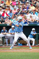 North Carolina Tar Heels shortstop Michael Russell #5 bats during Game 3 of the 2013 Men's College World Series between the North Carolina State Wolfpack and North Carolina Tar Heels at TD Ameritrade Park on June 16, 2013 in Omaha, Nebraska. The Wolfpack defeated the Tar Heels 8-1. (Brace Hemmelgarn/Four Seam Images)