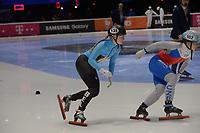 SPEEDSKATING: DORDRECHT: 05-03-2021, ISU World Short Track Speedskating Championships, Heats 1000m Ladies, Tineke den Dulk (BEL), Petra Vankova (CZE), ©photo Martin de Jong