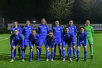 Team Genk ( midfielder Sien Vandersanden (10) , forward Gwen Duijsters (13) , forward Hanne Merkelbach (25) , defender Fleur Bienkens (23) , defender Sterre Gielen (14) , goalkeeper Joséphine Delvaux (1) and forward Britt Labro (17) , Luna Vanhoudt (43) , Fleur Pauwels (66) , midfielder Lorene Martin (6) , forward Lotte Van Den Steen (15) ) pictured during a female soccer game between Sporting Charleroi and KRC Genk Ladies on the 9th matchday of the 2020 - 2021 season of Belgian Scooore Womens Super League , friday 11 th of December 2020  in Marcinelle , Belgium . PHOTO SPORTPIX.BE | SPP | STIJN AUDOOREN